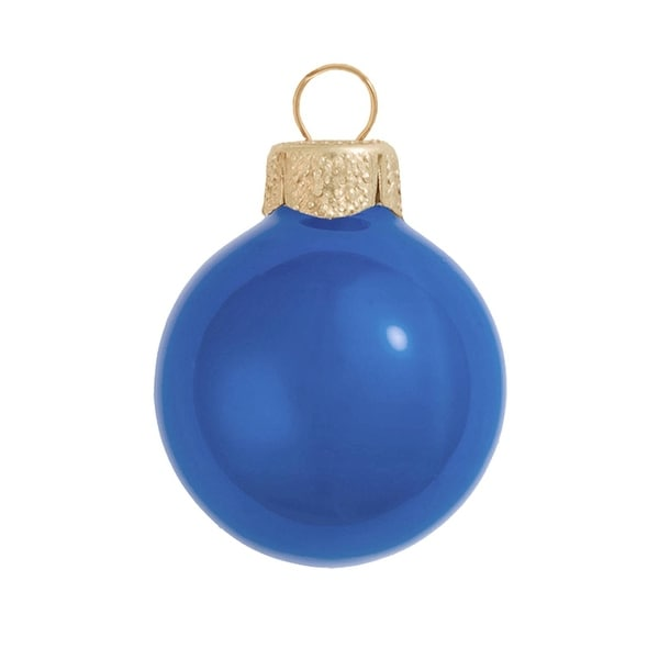 "12ct Pearl Delft Blue Glass Ball Christmas Ornaments 2.75"" (70mm)"