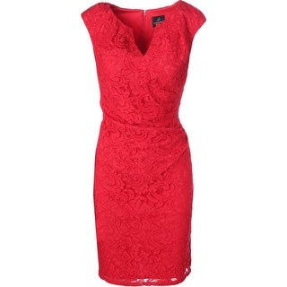 Adrianna Papell Womens Lace Pleated Cocktail Dress - 12