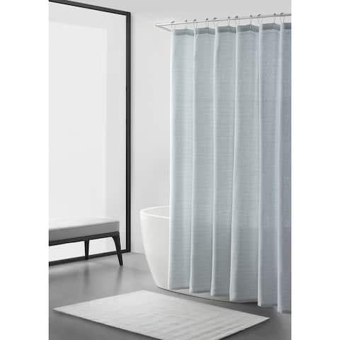 Vera Wang Irregular Stripe Mesh Cotton Blue Shower Curtain