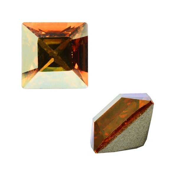Swarovski Elements Crystal, 4428 Square Fancy Stone 4mm, 12 Pieces, Crystal Metallic Sunshine F