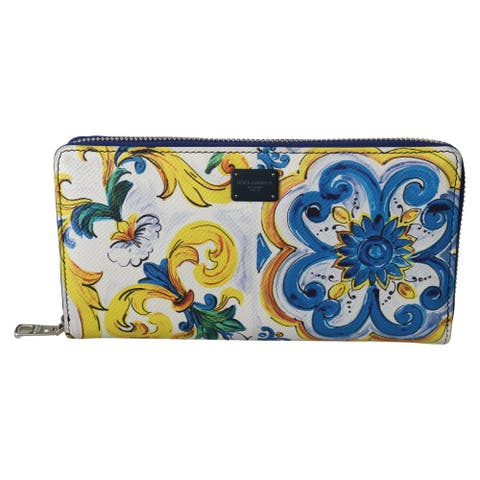 Dolce & Gabbana Majolica Dauphine Leather Continental Clutch Men's Wallet - one-size