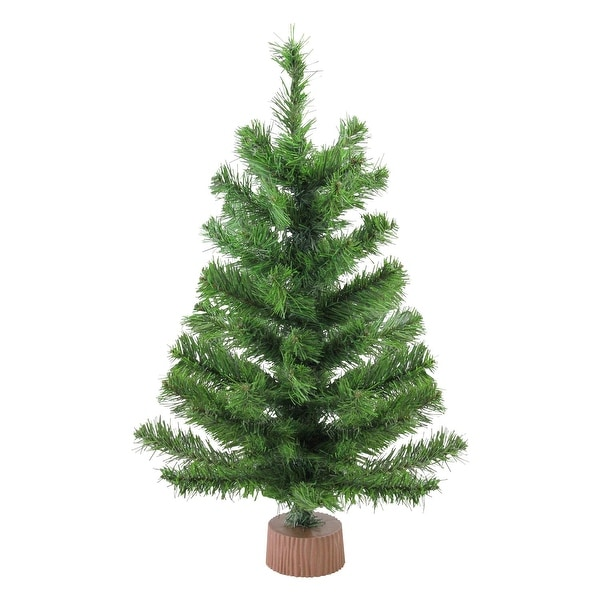 "24"" Mini Pine Artificial Christmas Tree in Faux Wood Base - Unlit - brown"