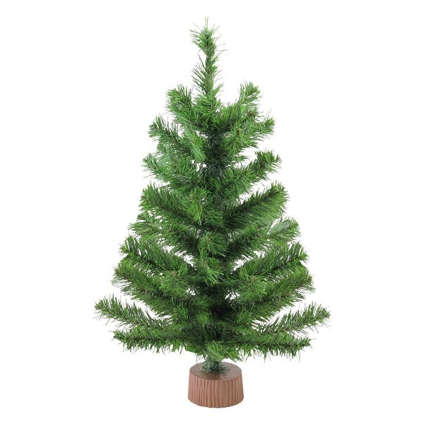 "24"" Mini Pine Artificial Christmas Tree in Faux Wood Base - Unlit"