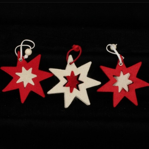 Club Pack of 36 Inside And Out 7 Star Red And Ivory Felt Ornaments