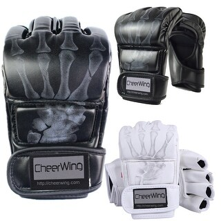 Leather MMA UFC Grappling Gloves Fight Boxing Muay Thai Ultimate Mitts Sparring