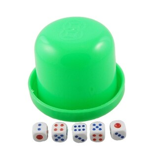 Unique Bargains Game Dice Roller Cup Green w 5 Dices