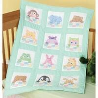 "Peek A Boo - Stamped White Nursery Quilt Blocks 9""X9"" 12/Pkg"