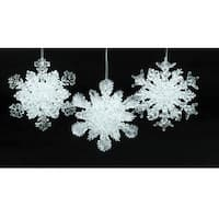 "Club Pack of 24 Ice Palace Frosted Glittery Snowflake Christmas Ornaments 4.5"" - CLEAR"
