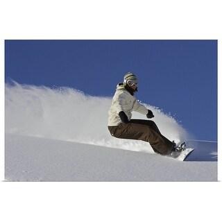 """Female snowboarder turning off piste"" Poster Print"