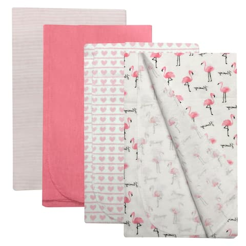 Baby Kiss Receiving Blankets for Baby Boy & Baby Girl 4 Pack Set