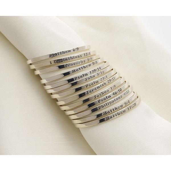 Women's Bible Verse Sterling Silver Engraved Cuff Bracelet - John 3:16
