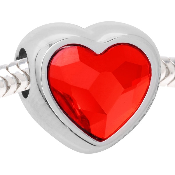 Swarovski Crystal BeCharmed, European Style Large Hole Heart Bead 14mm, 1 Piece, Light Siam