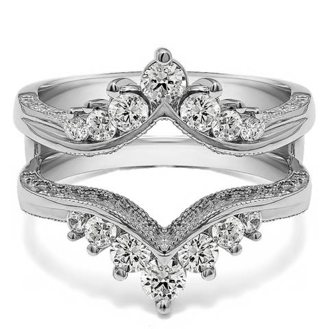 TwoBirch 0.74 Ct. Chevron Vintage Ring Guard With Cubic Zirconia Mounted in Sterling Silver (Sizes 6, 7, 8)