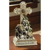 "9.5"" Joseph's Studio Lion and Lamb Peace on Earth Christmas Table Top Crosses - White"