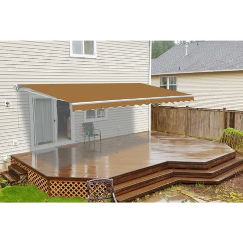 ALEKO Motorized 8 x 6.5 ft Retractable Deck Patio Awning Sand
