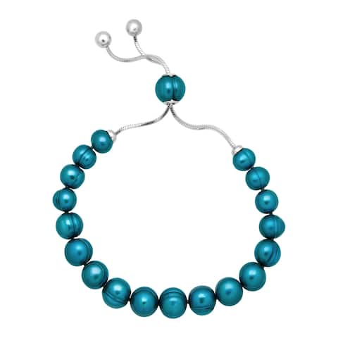 Honora 7-10 mm Freshwater Teal Pearl Bolo Bracelet with Slider in Stainless Steel - Blue