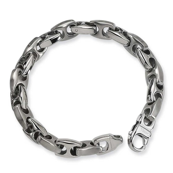 Chisel Brushed and Polished Stainless Steel Bracelet - 8.25 Inches