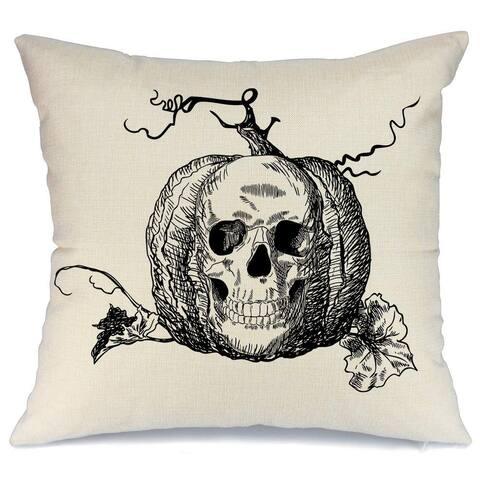 Halloween Skull Pumpkin Throw Pillow Cover