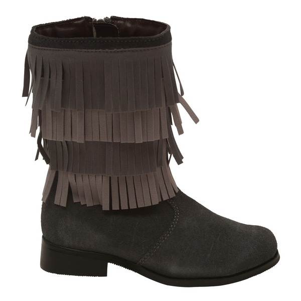 ea9657bac0c L'Amour Girls Grey Fringed Detail Side Zippered Trendy Boots 11-2 Kids