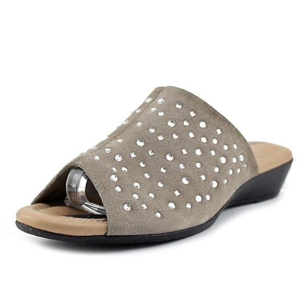 J. Renee Stellen Women W Open Toe Suede Tan Slides Sandal