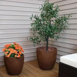 "Sunnydaze 2-Piece Fiber Clay Textured Rust Planter - 15-Inch and 17-Inch Pots - (1) 15"" & (1) 17"""