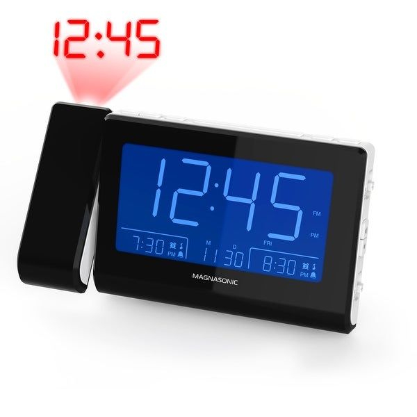 Magnasonic Alarm Clock Radio with Time Projection, Auto Dimming, Battery Backup, Dual Gradual Wake Alarm, Auto Time Set