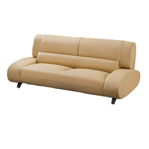 Leatherette Sofa with Attached Waist Support and Metal Legs, Yellow
