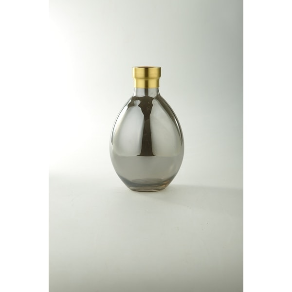 """10"""" Clear and Gold Hand Blown Glass Tabletop Vase - N/A"""