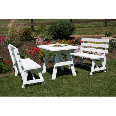 Pine 4' Picnic Table with 2 Backed Benches