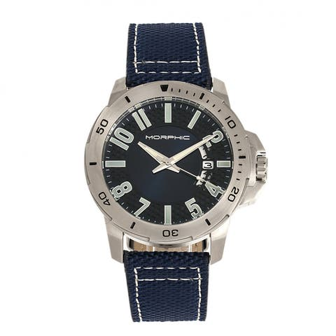 Morphic M70 Series Canvas-Overlaid Leather-Band Watch w/Date - Silver/Blue