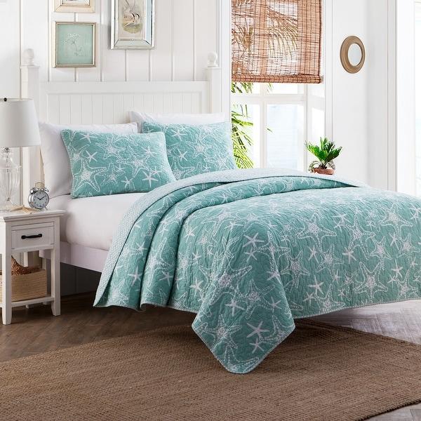 Cozy Starfish Blue Coastal Cotton 3 PC Reversible Quilt Bedding Set. Opens flyout.