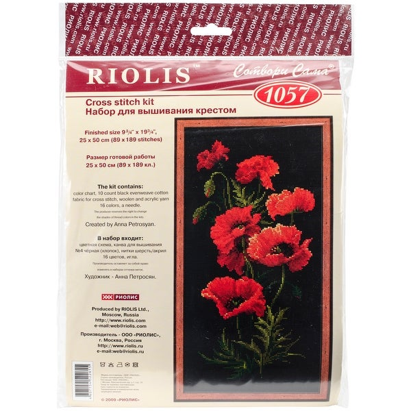 "Poppies Counted Cross Stitch Kit-9.75""X19.75"" 10 Count"