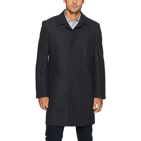 IKE BEHAR Mens Coat Solid Black Size 48R Button Down Trench Wool