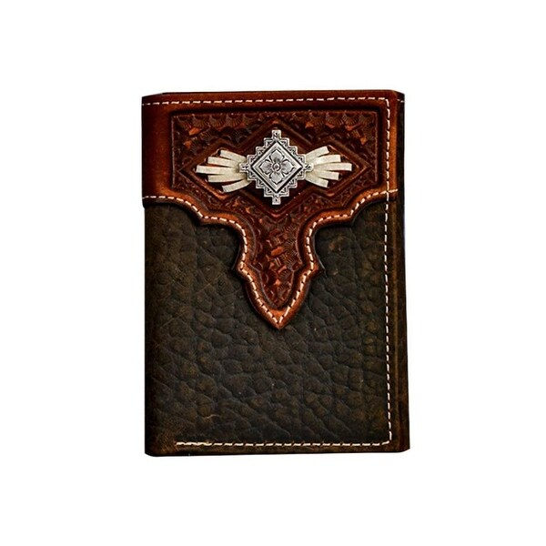 Nocona Western Wallet Men Trifold Lace Aztec Concho Med Brown - One size
