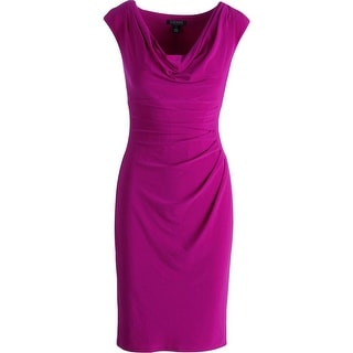 Lauren Ralph Lauren Womens Matte Jersey Drapey Cocktail Dress - 10