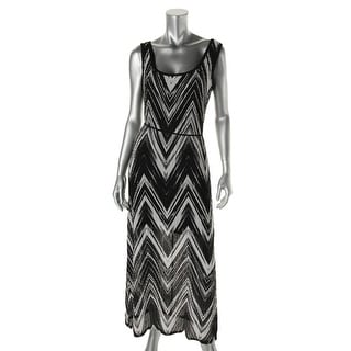 Connected Apparel Womens Petites Maxi Dress Chevron Sleeveless - 6P