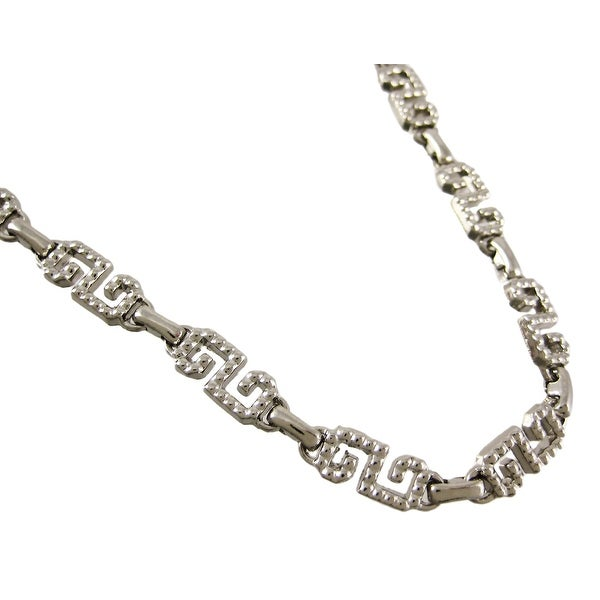 Chrome Plated Fancy Greek Key Link Metal Belly Chain
