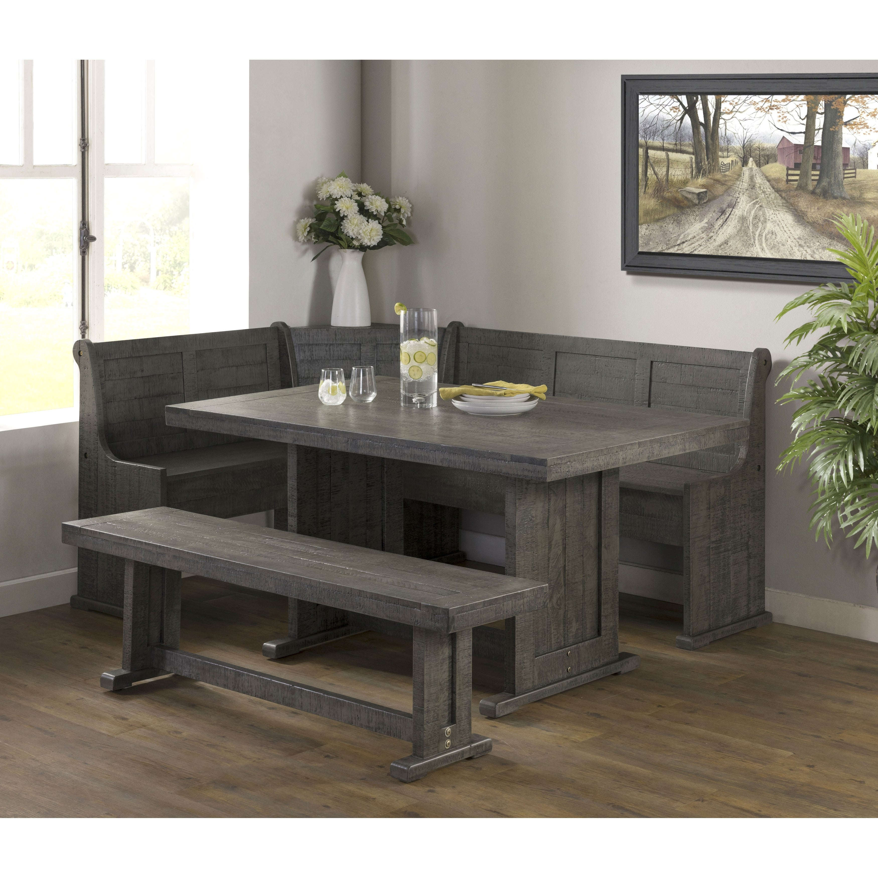 Picture of: Industrial Charms Breakfast Nook Dining Set With Corner Bench Overstock 31937413