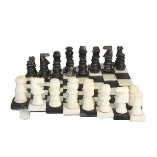 Black & White Tiered Alabaster Chess Set - Multicolored