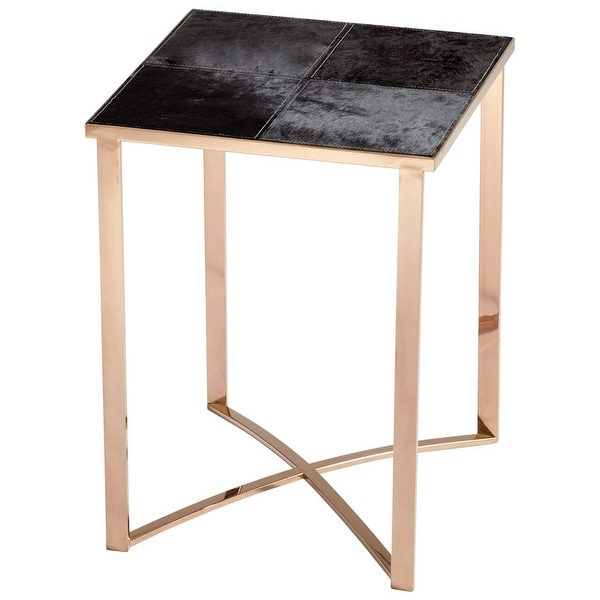 """Cyan Design Modern Reality Table Modern Reality 17.75"""" Long Iron Wood and Cowhide Side Table - Bronze"""