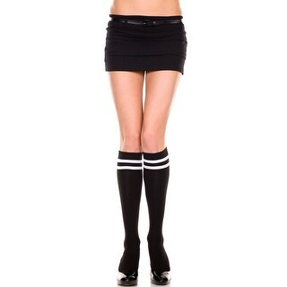 Knee Highs With Double Stripe Top, Athletic Style Socks