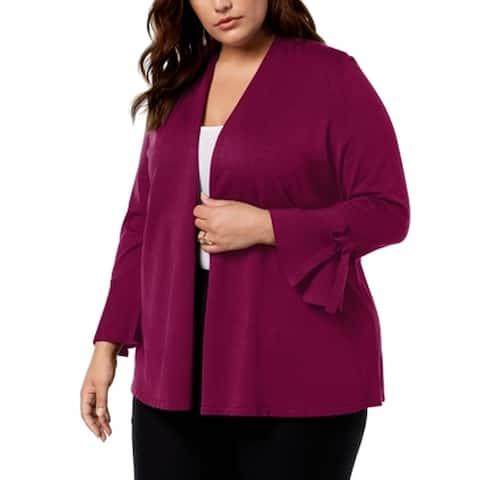 Alfani Womens Sweater Berry Purple Size 1X Plus Cardigan Tie-Sleeve Open