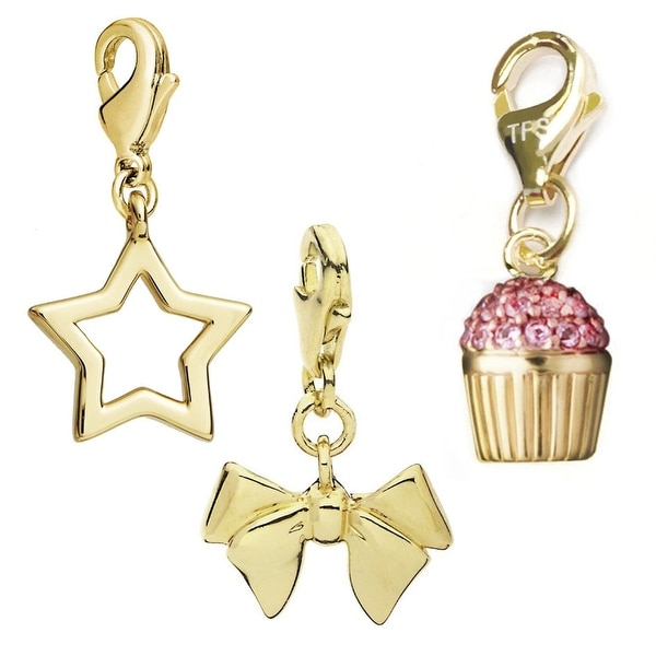 Julieta Jewelry Bow, Outline Star, Cupcake 14k Gold Over Sterling Silver Clip-On Charm Set