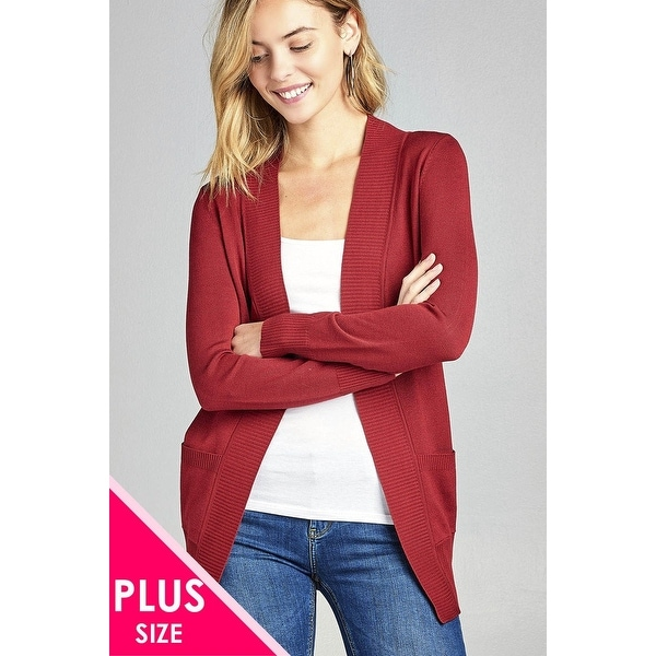 b86f026189 Shop Ladies Fashion Plus Size Long Sleeve Rib Banded Open Sweater Cardigan  W Pockets - Size - Xl - Free Shipping Today - Overstock.com - 23164485