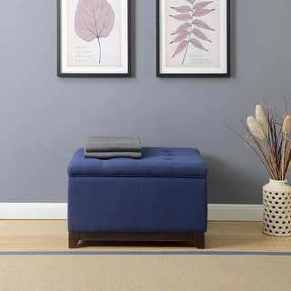 Belleze Linen Ottoman Storage Bench Stool Large Footrest Seat Tufted Foot  Stool, Navy Blue