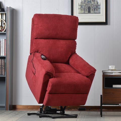 Merax Power Lift Chair with Massage Soft Fabric Upholstery Recliner Chair with Remote