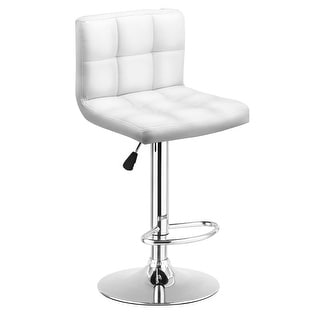 Costway 1 PC Bar Stool Swivel Adjustable PU Leather Barstools Bistro Pub Chair White
