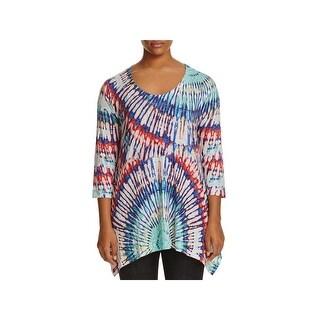 Nally & Millie Womens Plus Pullover Sweater Tie-Dye Asymmetrical