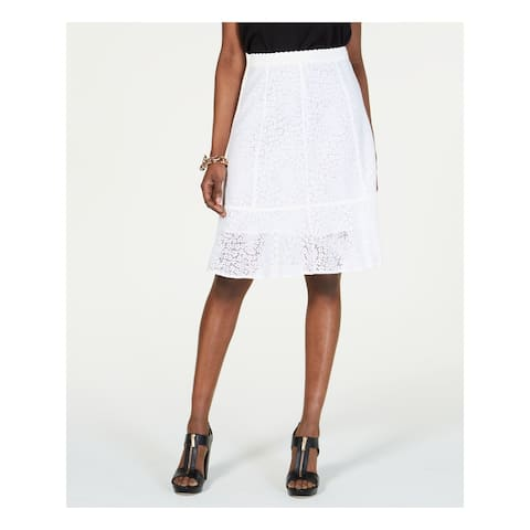 MICHAEL KORS Womens White Below The Knee A-Line Skirt Size 0