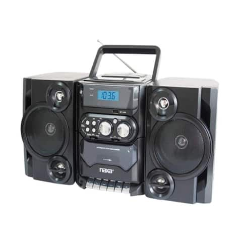 Naxa NPB-428 Naxa NPB-428 Mini Hi-Fi System - 5 W RMS - Black - CD Player, Cassette Recorder - 1 Cassette(s) - FM, AM - 2